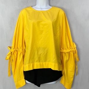 True Destiny Yellow Blouse with Puff Sleeves